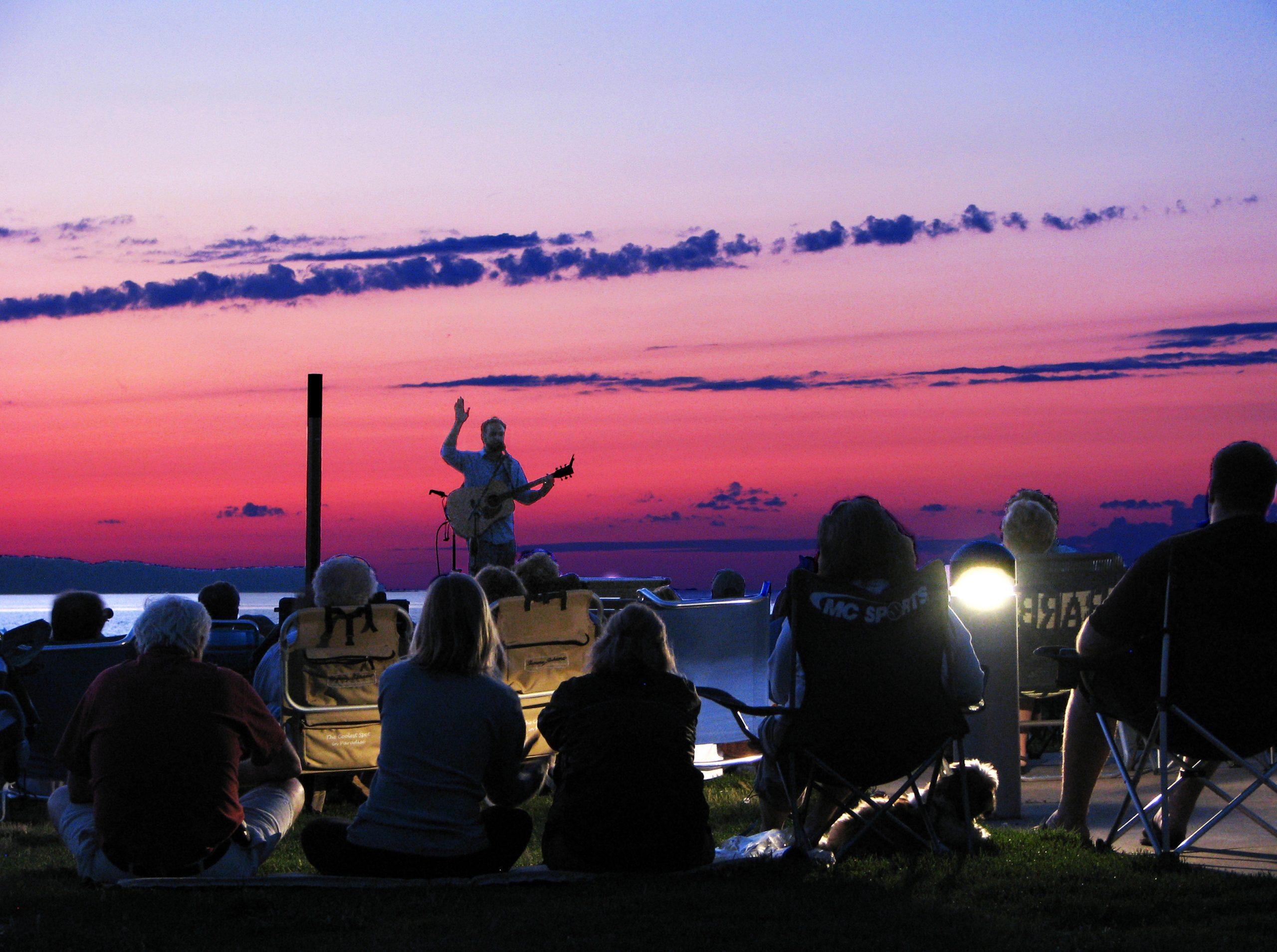 Concert at the Elk Rapids Harbor at sunset