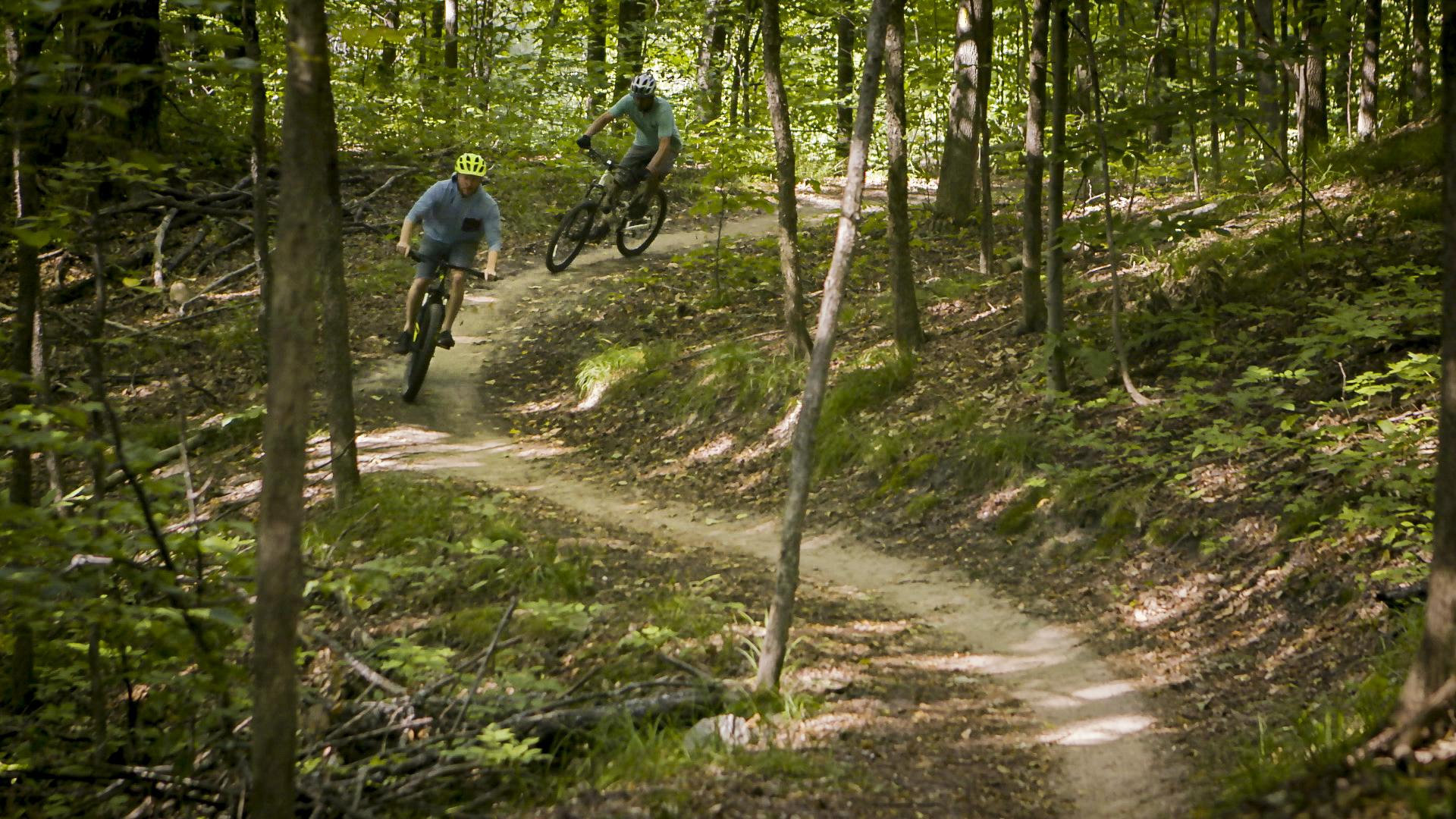 Two mountain bikers riding down a trail in Elk Rapids, MI